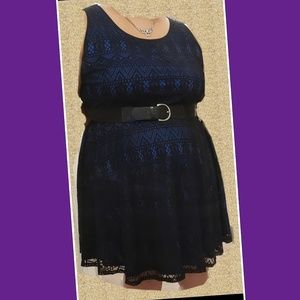 Worn once lacy black and blue dress